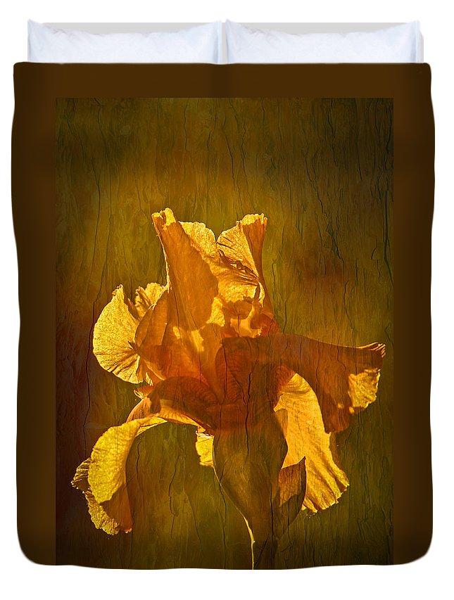 Gold Iris Duvet Cover featuring the photograph The Golden Iris by Randall Branham