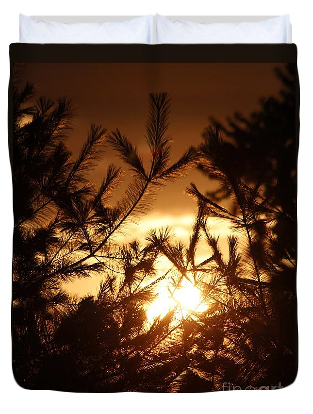 Sunset Duvet Cover featuring the photograph The Golden Sunset by Chet B Simpson