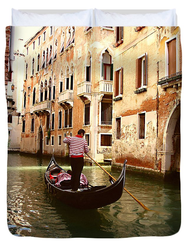 The Gondolier Duvet Cover featuring the photograph The Gondolier by Ellen Henneke