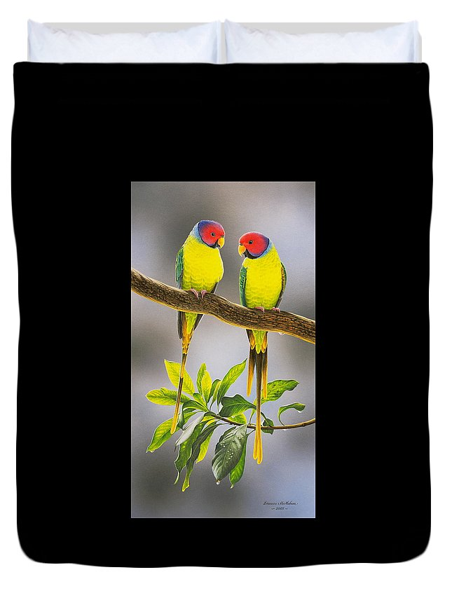Bird Paintings Duvet Cover featuring the painting The Gorgeous Guys - Plum-Headed Parakeets by Frances McMahon