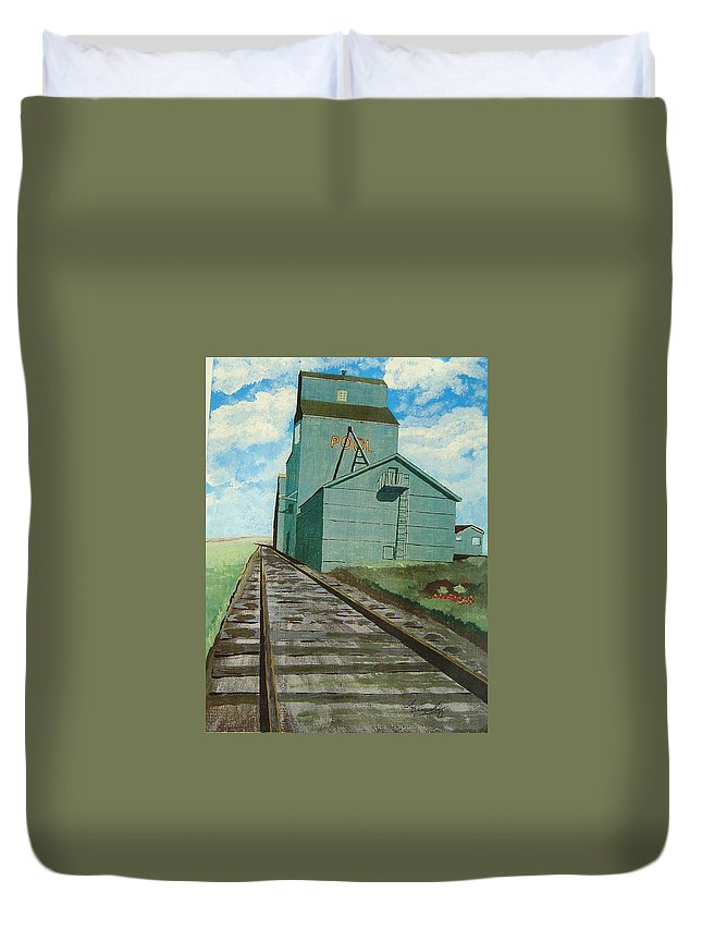 Elevator Duvet Cover featuring the painting The Grain Elevator by Anthony Dunphy