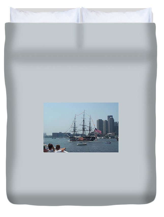 Boston Harbor Duvet Cover featuring the photograph The Grand Old Dame Turns by Barbara McDevitt