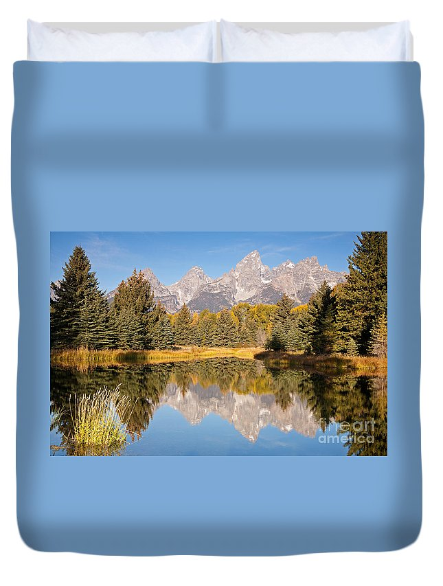 Grand Teton Np Duvet Cover featuring the photograph The Grand Tetons Schwabacher Landing Grand Teton National Park by Fred Stearns