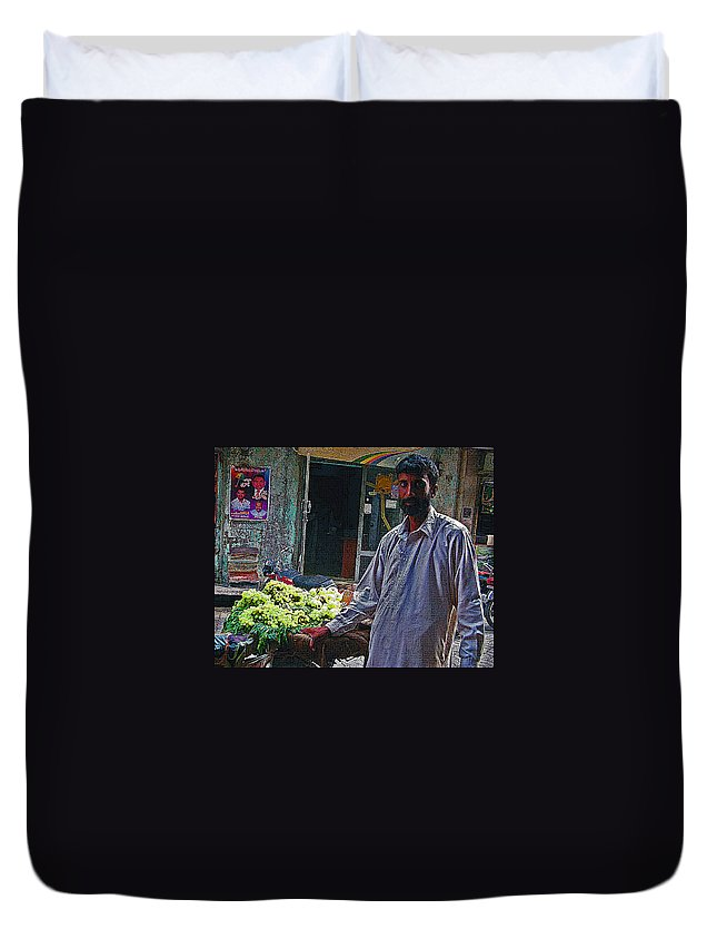 Expressive Duvet Cover featuring the photograph The Grapes Man by Lenore Senior