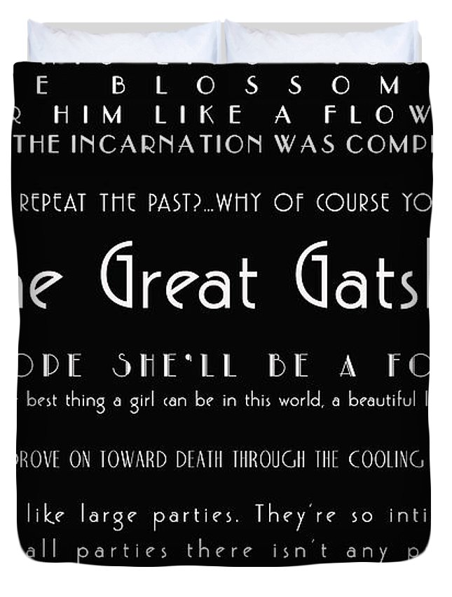 The Great Gatsby Quotes   The Great Gatsby Quotes Duvet Cover For Sale By Georgia Fowler