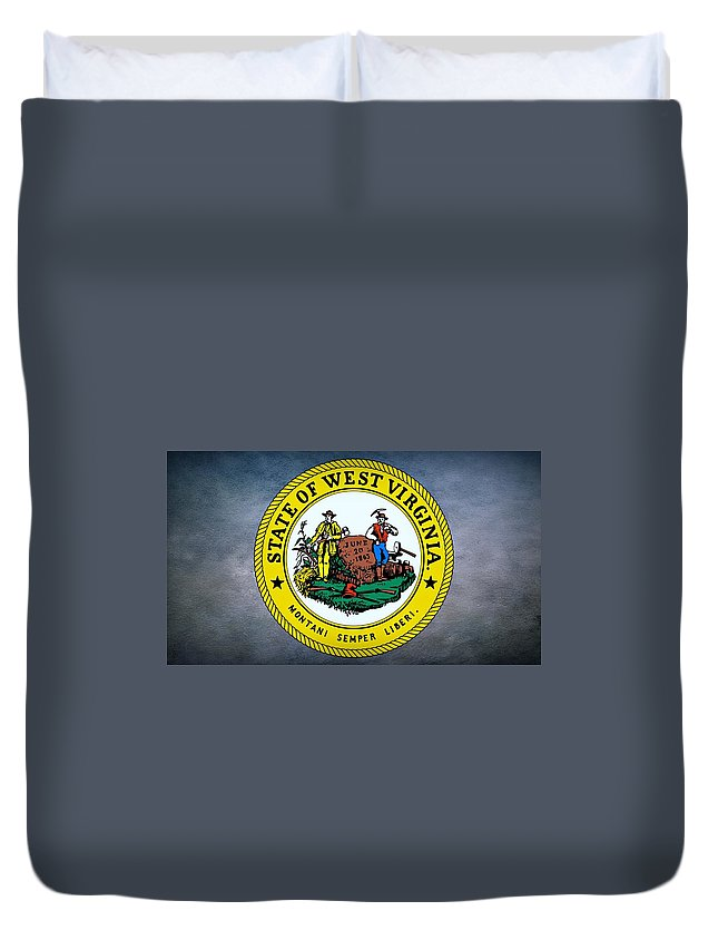 West Virginia Duvet Cover featuring the photograph The Great Seal Of The State Of West Virginia by Movie Poster Prints