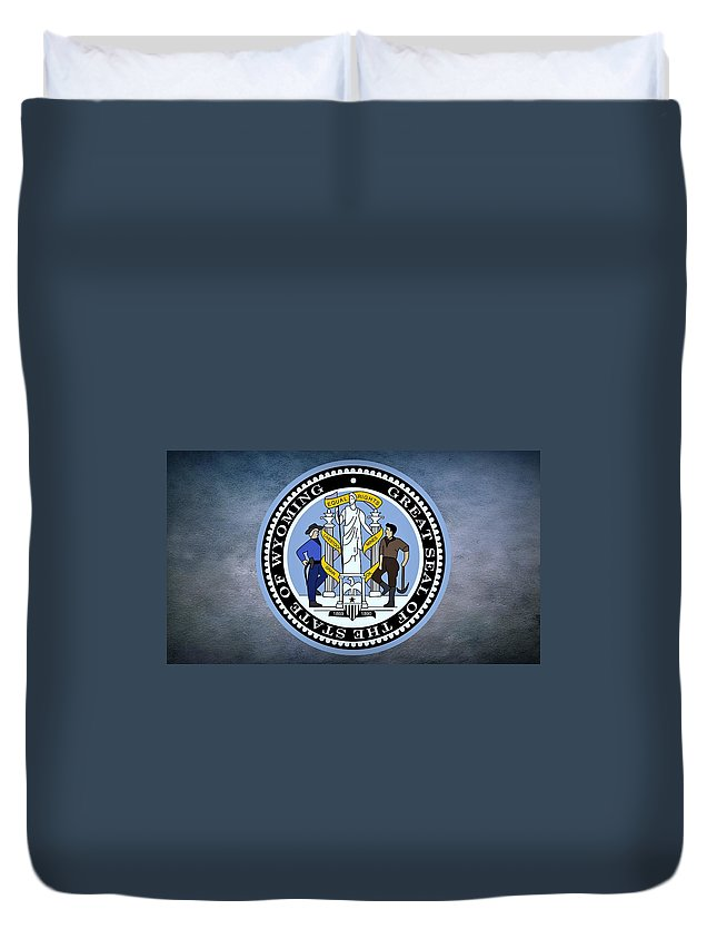 Wyoming Duvet Cover featuring the photograph The Great Seal Of The State Of Wyoming by Movie Poster Prints