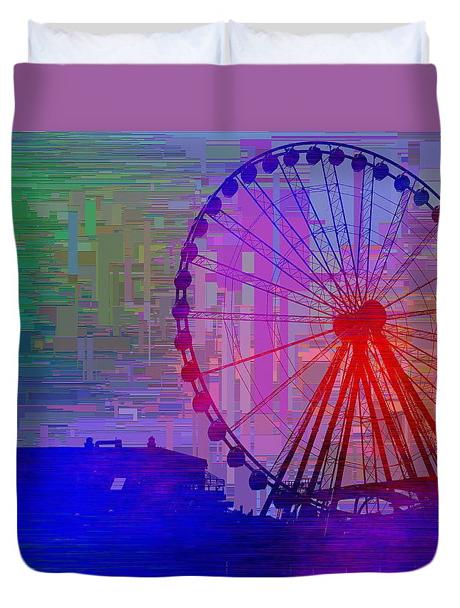 Great Wheel Duvet Cover featuring the digital art The Great Wheel Cubed by Tim Allen