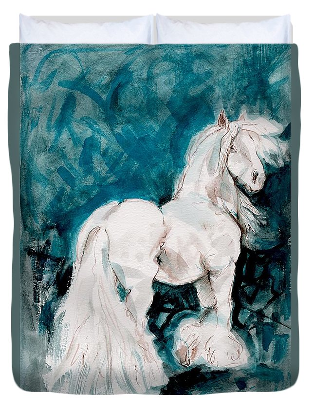 Mary Ogden Armstrong Duvet Cover featuring the painting The Great White by Mary Armstrong