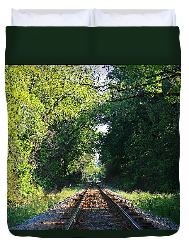 Reid Callaway Train And Track Duvet Cover featuring the photograph The Green Line Railroad Track Art by Reid Callaway