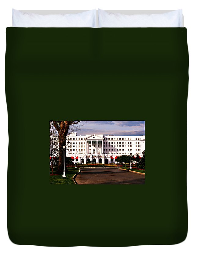 The Greenbrier Resort Duvet Cover featuring the photograph The Greenbrier Resort by Chastity Hoff
