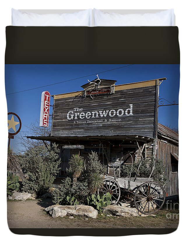 The Greenwood Duvet Cover featuring the photograph The Greenwood Dancehall And Saloon Bluff Dale Texas by Jason O Watson