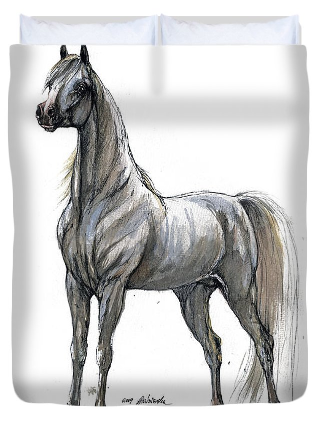 Horse Duvet Cover featuring the painting the Grey arabian horse 7 by Angel Ciesniarska