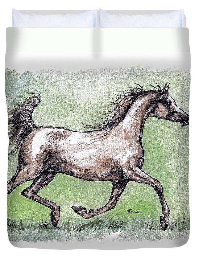 Horse Duvet Cover featuring the painting The Grey Arabian Horse 8 by Angel Ciesniarska