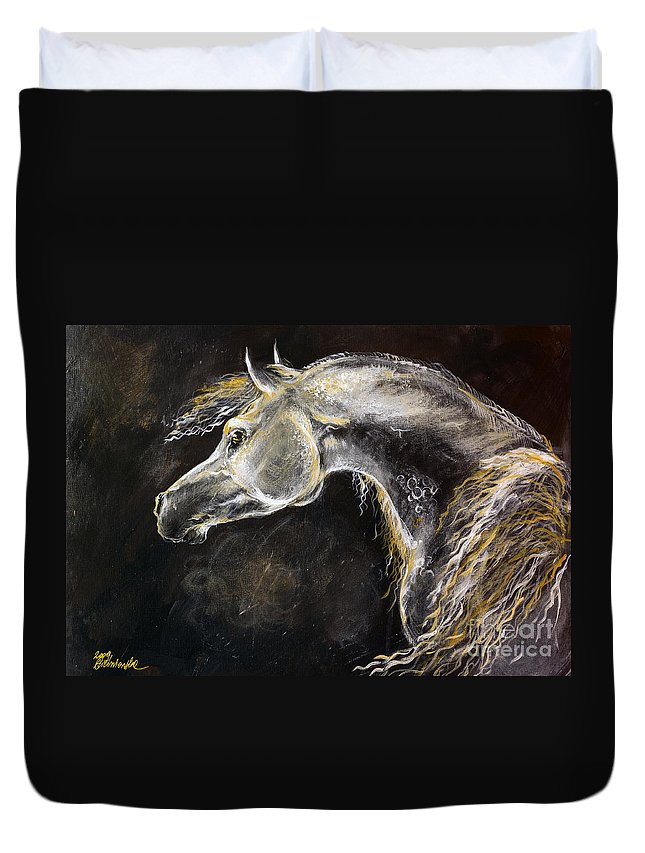 Horse Duvet Cover featuring the painting The Grey Arabian Horse 9 by Angel Ciesniarska