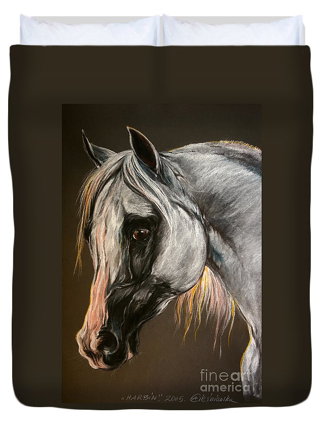 Horse Duvet Cover featuring the drawing The Grey Arabian Horse by Angel Ciesniarska