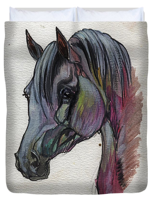 Horse Duvet Cover featuring the painting The Grey Horse Drawing 1 by Angel Ciesniarska