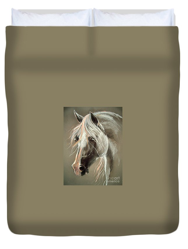 Pastel Duvet Cover featuring the drawing The Grey Horse Soft Pastel by Angel Ciesniarska