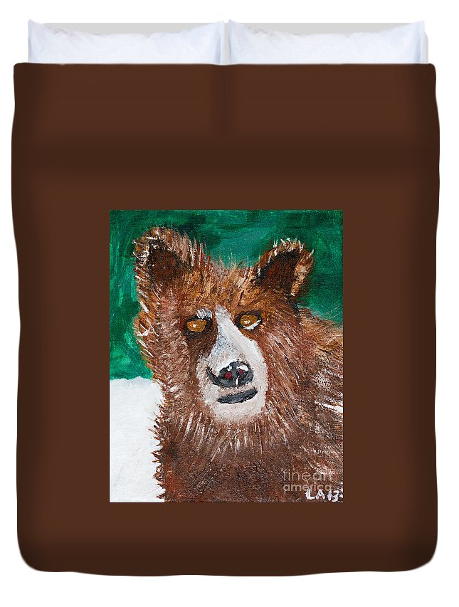 Bear Duvet Cover featuring the painting The Grizzly by Lloyd Alexander