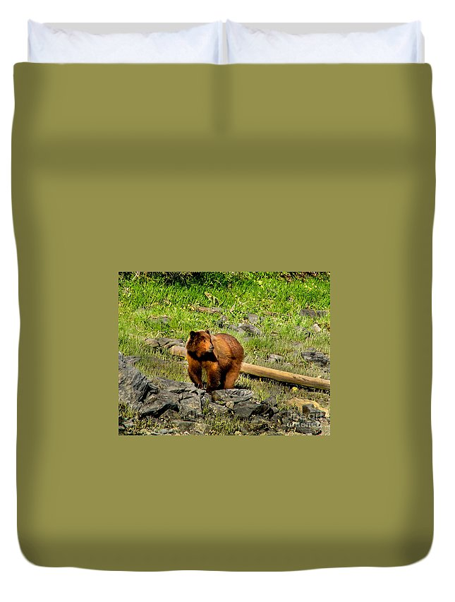 Bear Duvet Cover featuring the photograph The Grizzly by Robert Bales