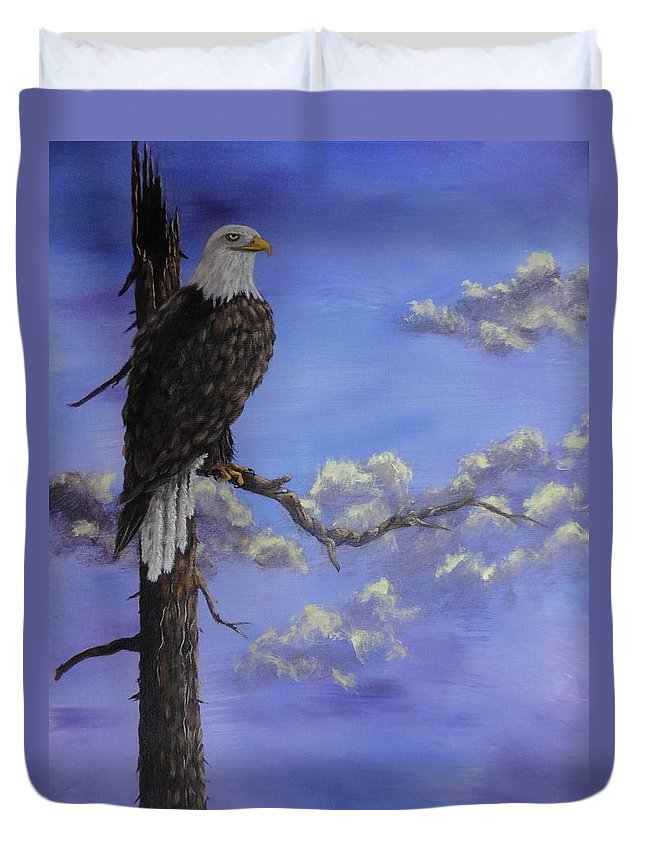 Xochi Hughes Madera Duvet Cover featuring the painting The Guardian by Xochi Hughes Madera