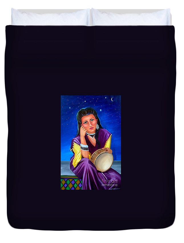 Gypsy Duvet Cover featuring the painting The Gypsy by Lora Duguay
