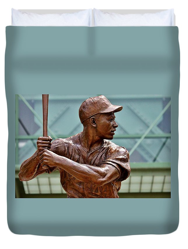 Hank Aaron Duvet Cover featuring the photograph The Hammer by Christopher Miles Carter