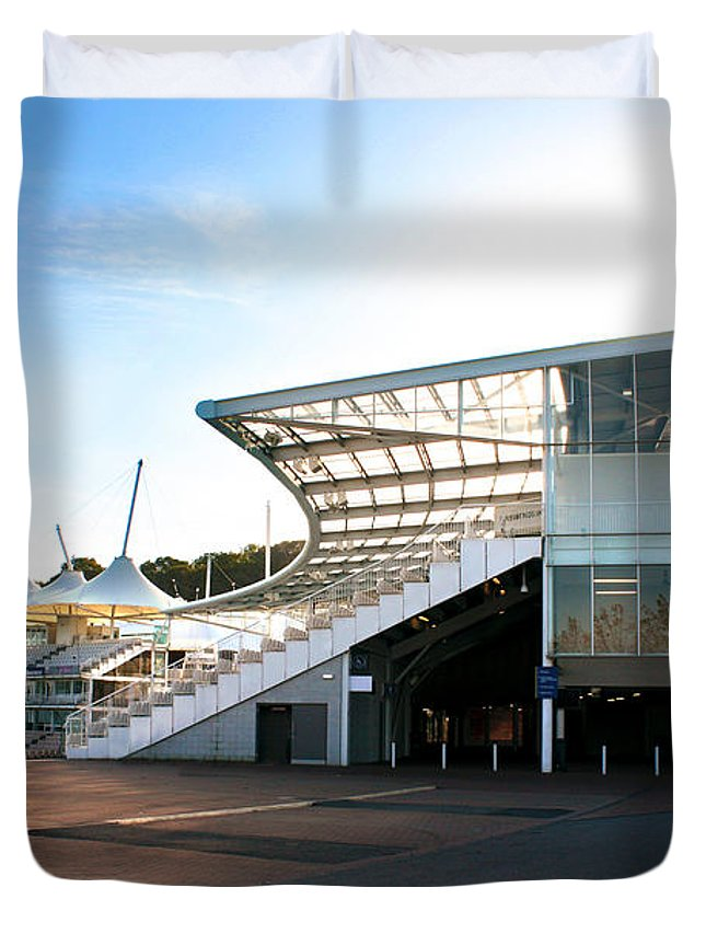 Hampshire County Cricket Club Pavilion Duvet Cover featuring the photograph The Hampshire County Cricket Club Pavilion by Terri Waters