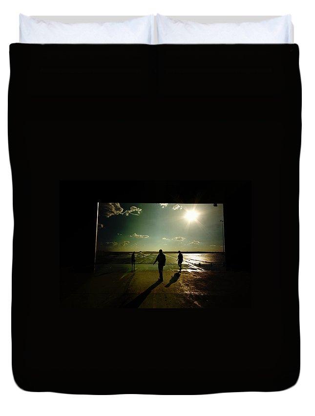 Hanger Duvet Cover featuring the photograph The Hanger Door by Paul Job