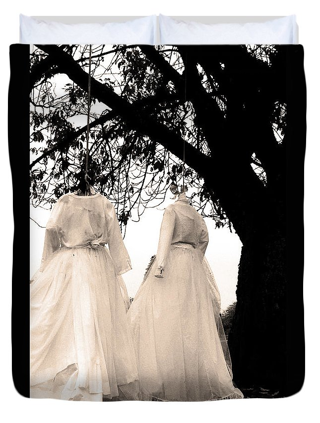 Black And White Duvet Cover featuring the photograph The Hanging Brides by The Artist Project