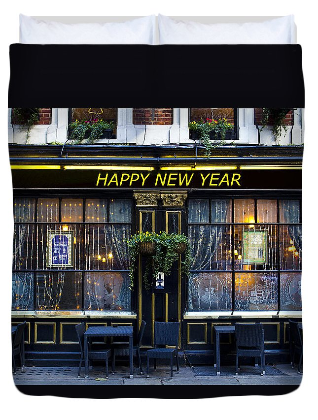 Pub Duvet Cover featuring the photograph The Happy New Year Pub by David Pyatt