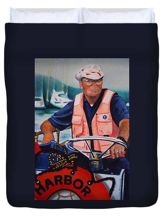 The Harbor Master Duvet Cover featuring the painting The Harbor Master by Joy Bradley