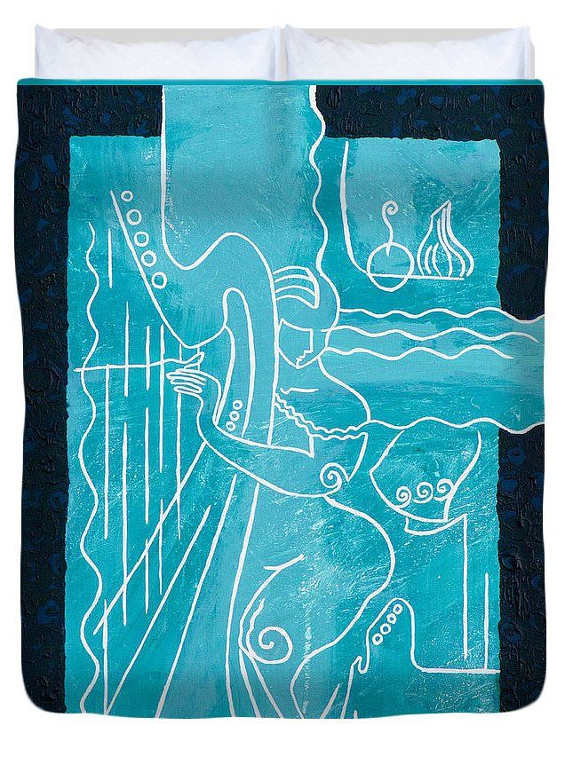 Female Forms Duvet Cover featuring the painting The Harp Player by Elisabeta Hermann