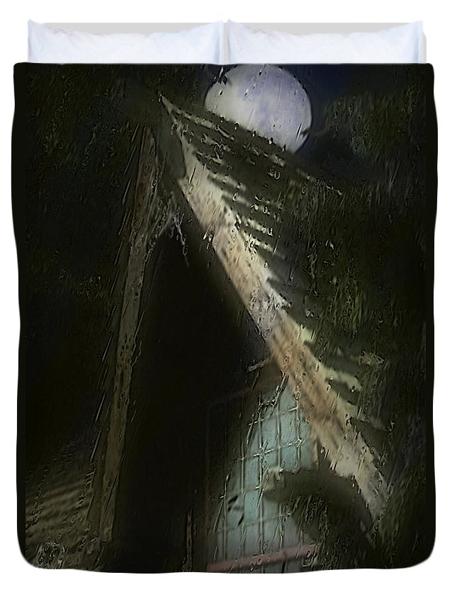 House Duvet Cover featuring the painting The Haunted Gable by RC DeWinter