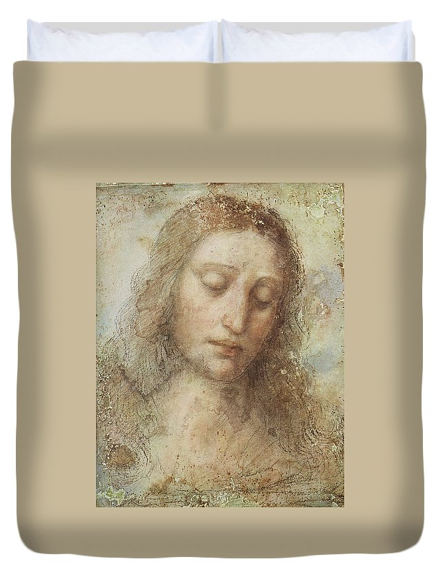 The Head Of Christ Duvet Cover featuring the digital art The Head Of Christ by Leonardo da Vinci
