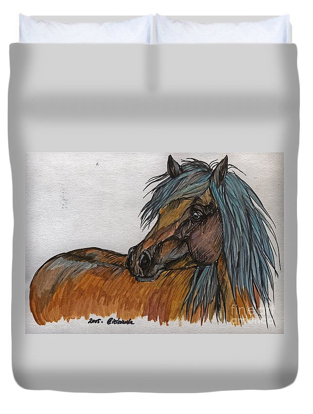 Horse Duvet Cover featuring the painting The Heavy Horse by Angel Ciesniarska