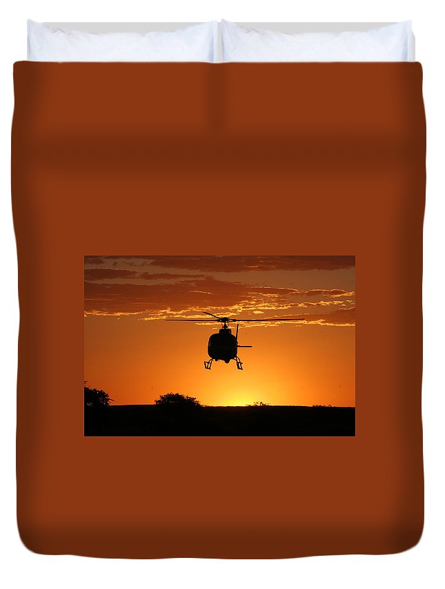 South African Police Air Wing Duvet Cover featuring the photograph The Helicopter by Paul Job