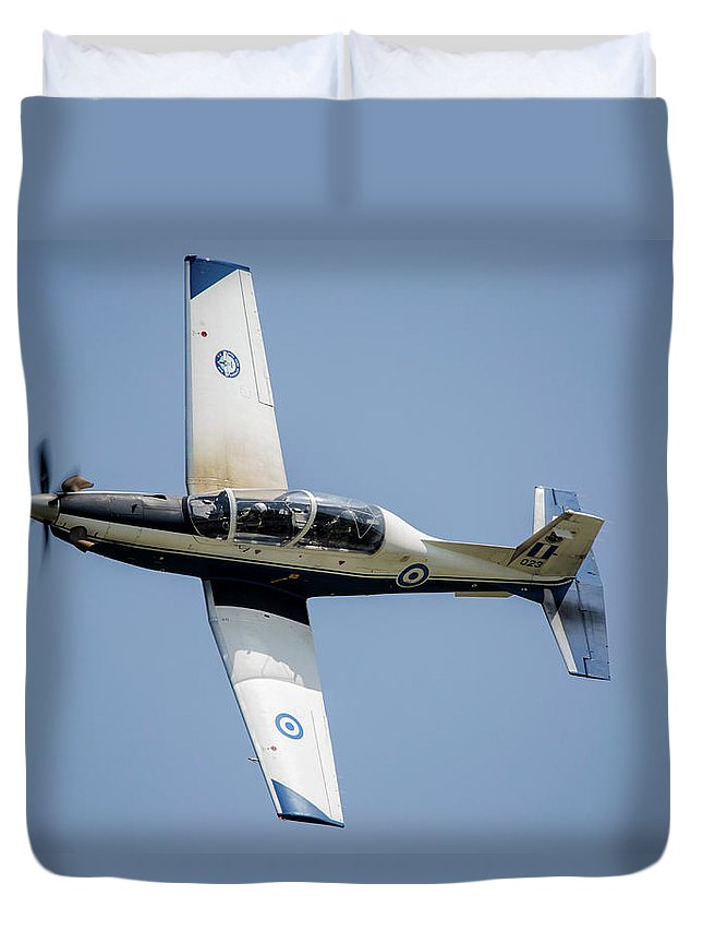 Greece Duvet Cover featuring the photograph The Hellenic Air Force Daedalus Demo by Timm Ziegenthaler
