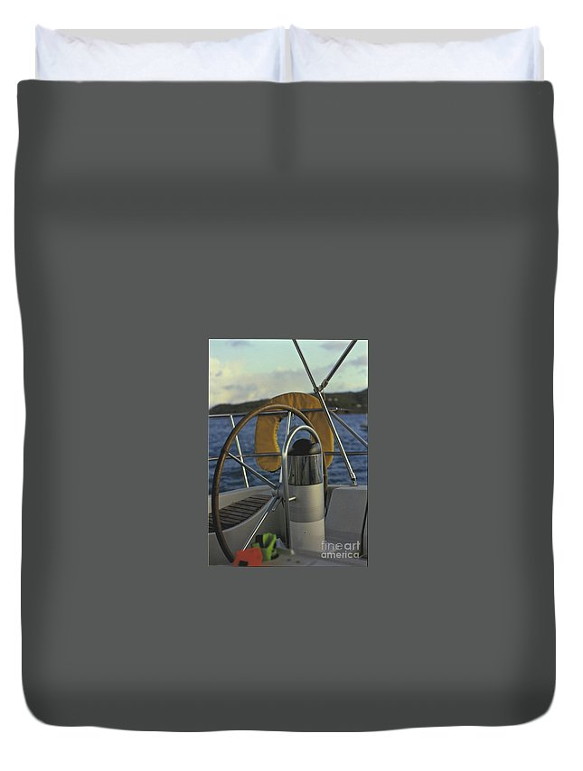Sail Duvet Cover featuring the photograph The Helm by William Norton