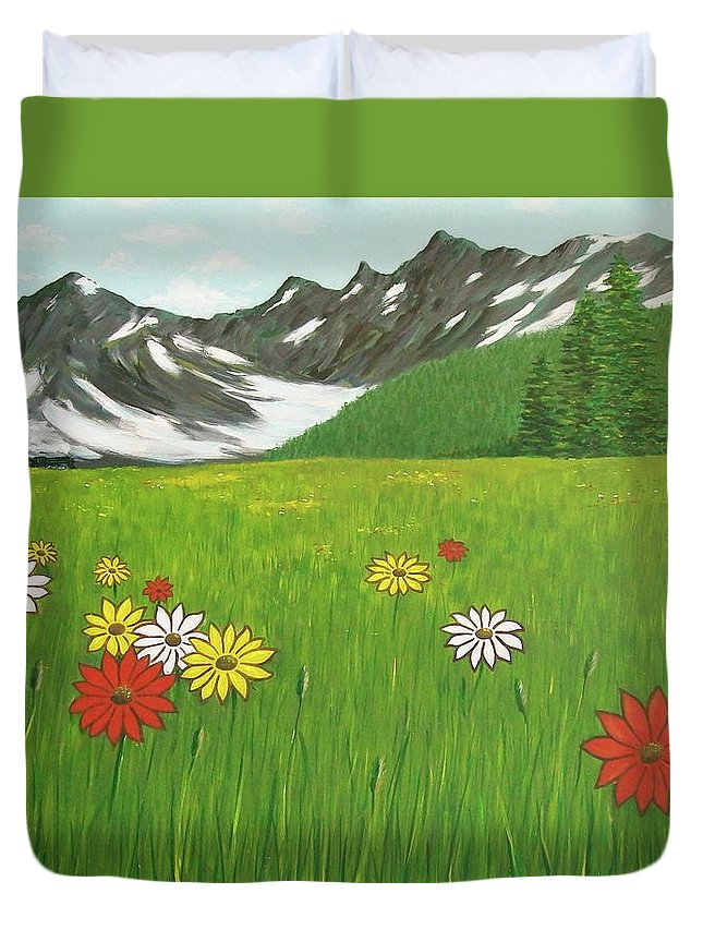 Meadow Mountains Flowers Duvet Cover featuring the painting The Hills Are Alive With The Sound Of Music by Frank Hunter