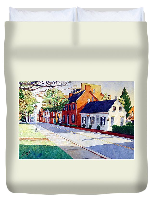Early Morning Duvet Cover featuring the painting The Historic District by Mick Williams