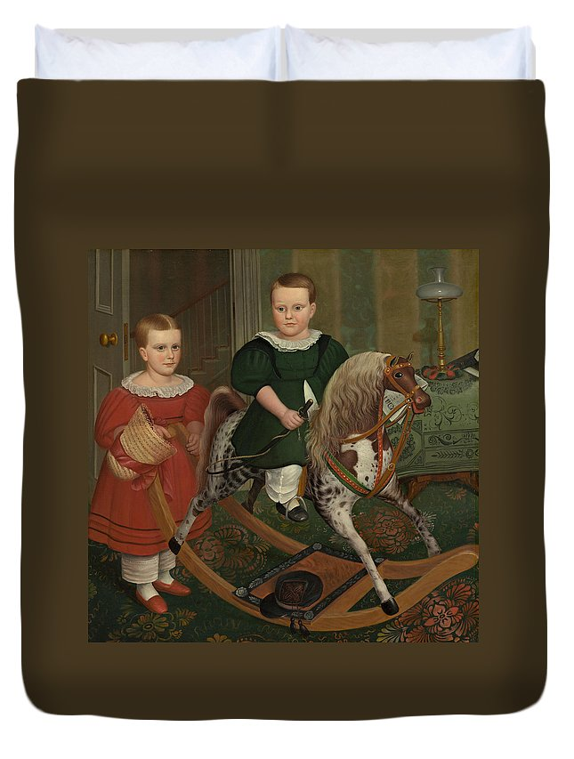 The Hobby Horse Duvet Cover featuring the painting The Hobby Horse by American School