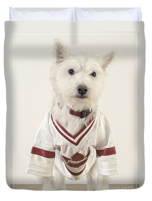 Hockey Duvet Cover featuring the photograph The Hockey Player by Edward Fielding