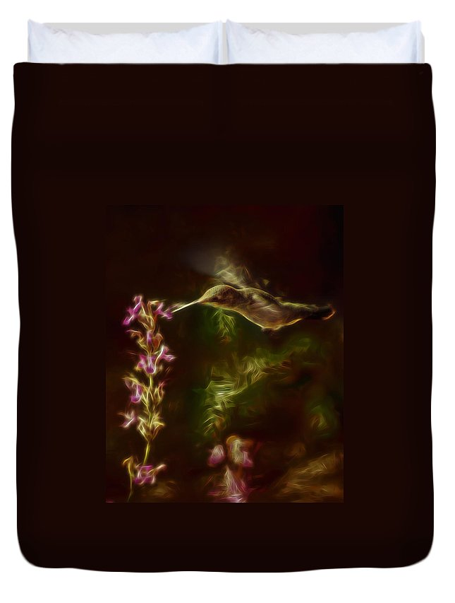 Hummingbirds Duvet Cover featuring the digital art The Hummingbird Digital Art by Ernie Echols