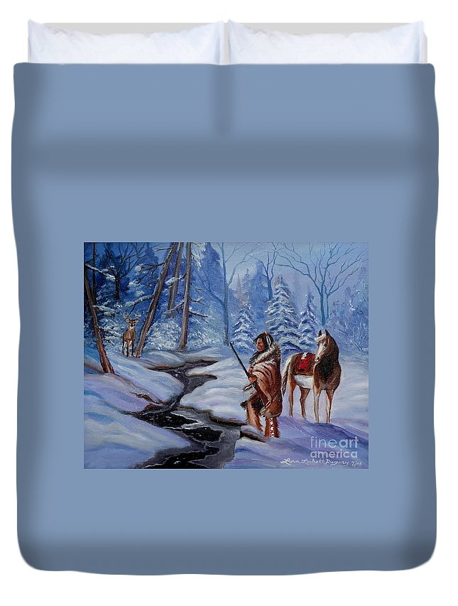 Winter Landscape Duvet Cover featuring the painting The Hunt by Lora Duguay