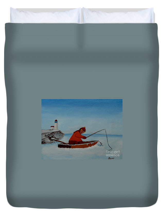 Stupid Duvet Cover featuring the painting The Ice Fisherman by Anthony Dunphy