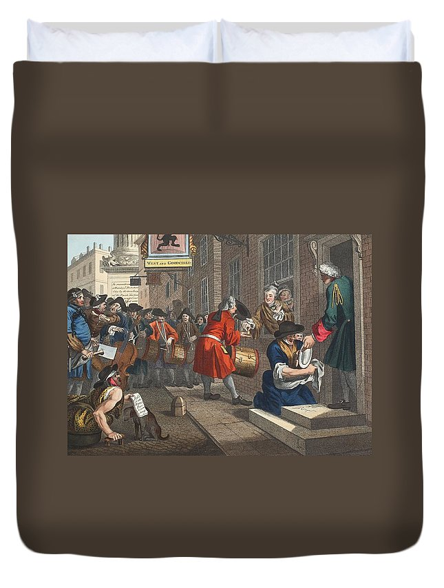 C18th Duvet Cover featuring the drawing The Industrious Prentice by William Hogarth