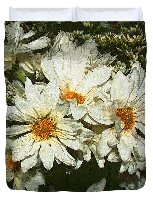Bouquet Duvet Cover featuring the painting The Infinite Shades Of White by RC DeWinter