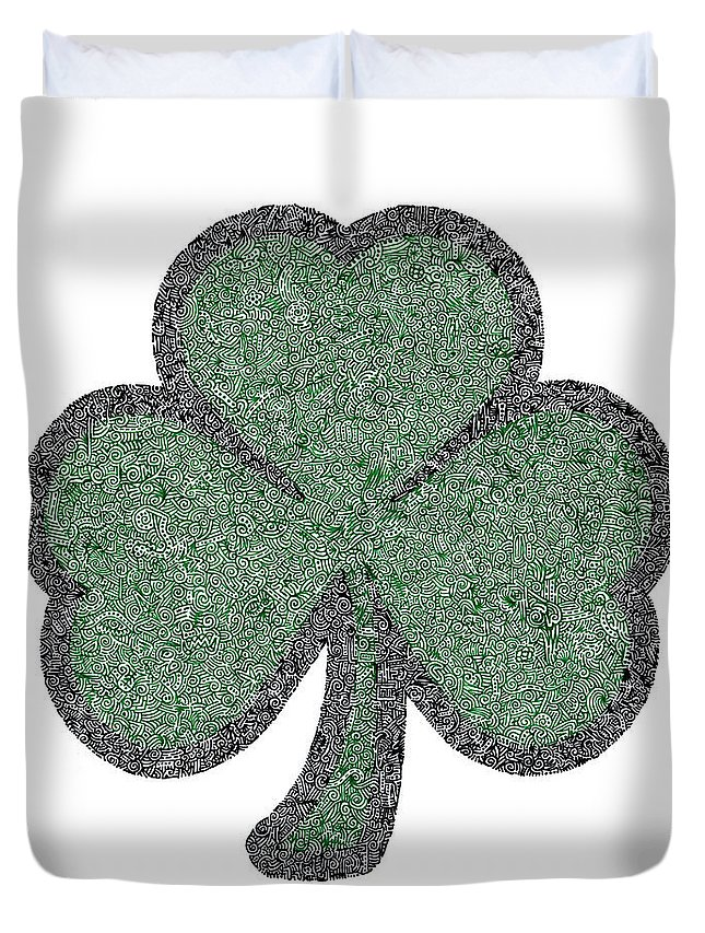 Pilot Duvet Cover featuring the drawing The Intricacies Of A Shamrock by Kyle Van Zandbergen