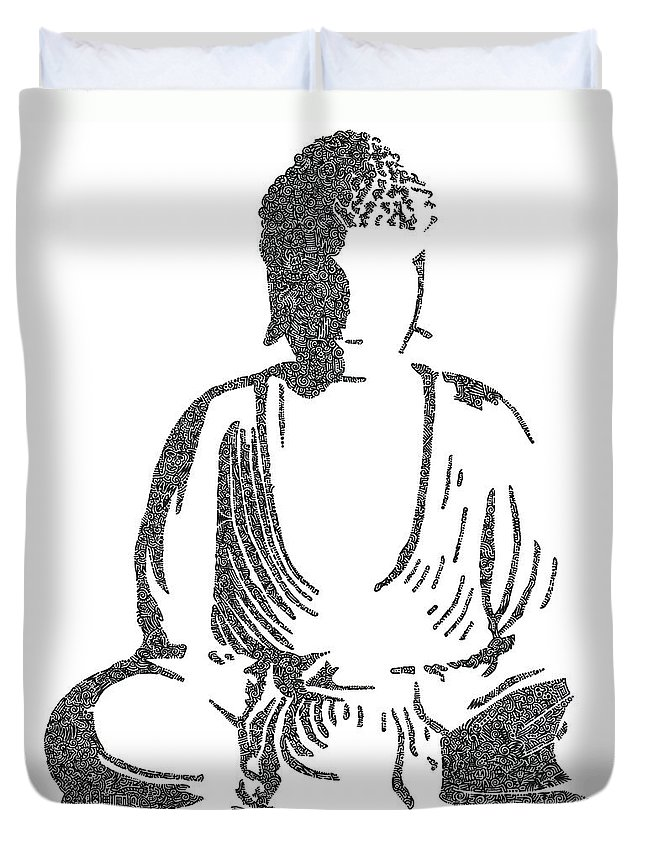 Pen Duvet Cover featuring the drawing The Intricacies Of The Meditating Buddha by Kyle Van Zandbergen